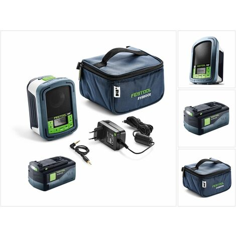 Festool Sysrock BR 10 DAB+ SYSROCK Radio de chantier + 1x Batterie 5,2 Ah - sans Chargeur