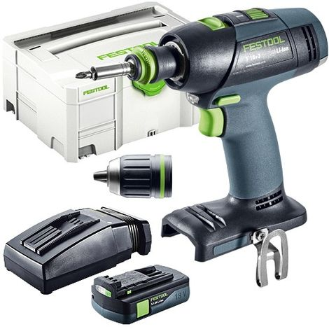 Festool T 18+3 18v Li-ion Drill Driver 1x3.1As TCL Charger in SYS-2