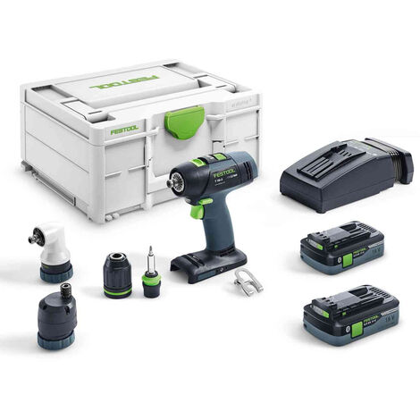 Festool T18+3 Li 5.2-Set GB 18V Cordless Drill Driver with 2 x 5.2Ah Batteries & Charger in Case 575694