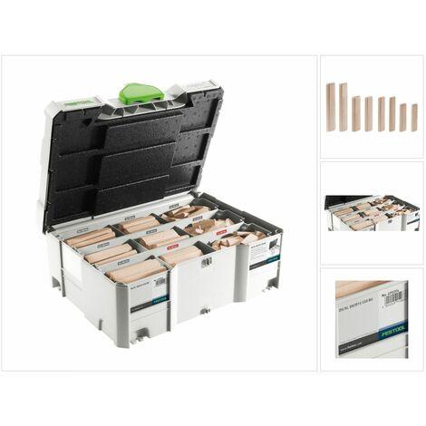 Festool Tenons Domino XL en hêtre DS / XL D8 / D10 306 pièces avec Fraiseur Domino ( 498204 )