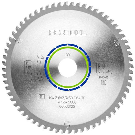 Festool TF64 Mitre Saw Blade 216mm x 2.3mm x 30mm x 64T 500122