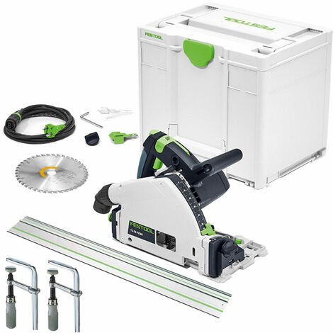Festool TS 55 FEBQ-Plus 160mm Circular Plunge-Cut Saw 110V with Guide Rail & Clamp Set
