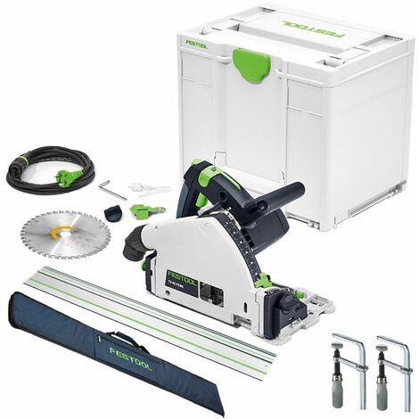 Festool TS 55 FEBQ-Plus 160mm Circular Plunge-Cut Saw 240V with Guide Rail + Clamps & Bag