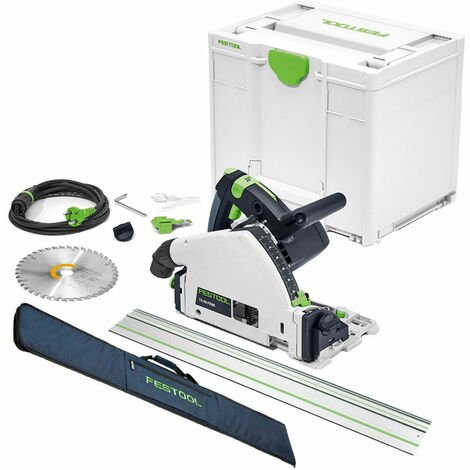 Festool TS 55 FEBQ-Plus 160mm Circular Plunge-Cut Saw 240V with Guide Rail & Rail Bag