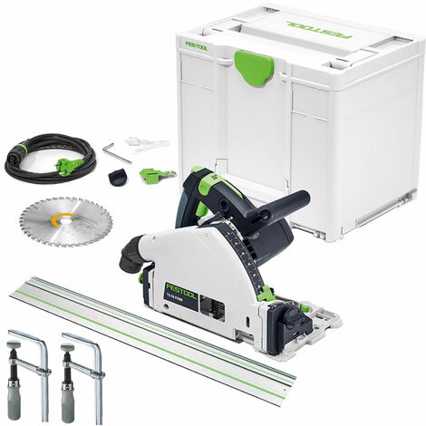 Festool TS55 110V 160mm Plunge Saw 561554 with Guide Rail & Clamp Set