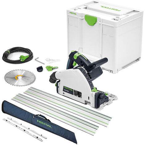 Festool TS55 110V 160mm Plunge Saw with 2 x Guide Rail + Connector & Bag