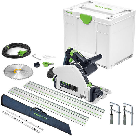 Festool TS55 240V Plunge Saw + 2xGuide Rail + Connector + Clamps & Bag