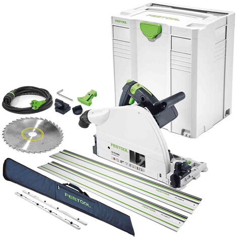 Festool TS75 110V Plunge Saw 561439 with 2 x Guide Rail + Connector & Bag