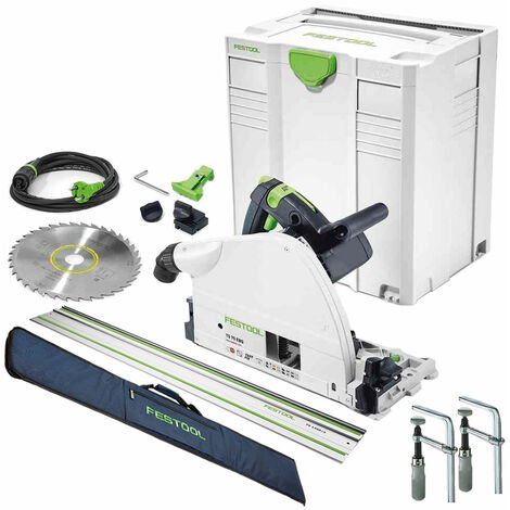 Festool TS75 240V Plunge Saw 561441 with Guide Rail + Clamp Set & Rail Bag