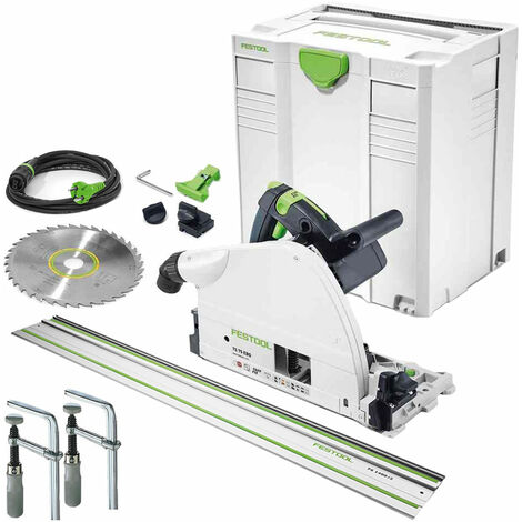 Festool TS75 EBQ-Plus 240V Plunge Saw 561441 with Guide Rail & Clamp Set