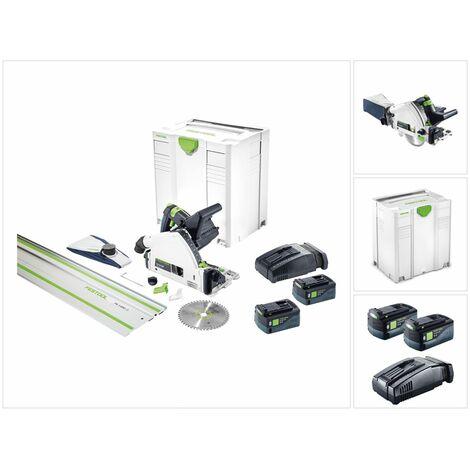 Festool TSC 55 Li 5,2 REBI-Set-SCA-FS Scie plongeante sans fil 18 V / 36 V + Systainer + 2 x Batteries 5,2 Ah + Chargeur ( 575745 )