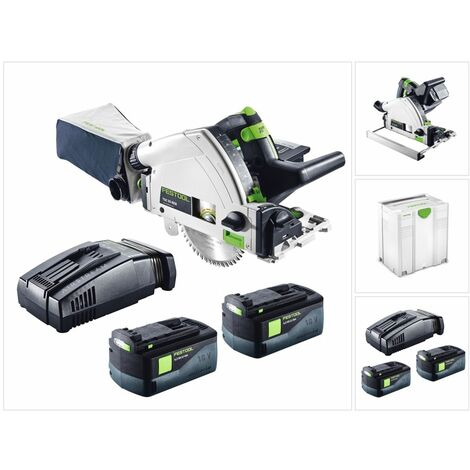 Festool TSC 55 REB-Li Basic Scie plongeante sans fil 18 / 36 V + Systainer + 2x Batteries BP 18 Li 6,2 Ah + Chargeur rapide SCA 8