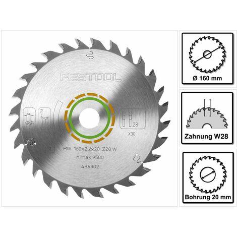 Festool Universal Kreissägeblatt W28 160 x 2,2 x 20 mm 160 mm 28 Zähne ( 496302 ) TS TSC ATF AP