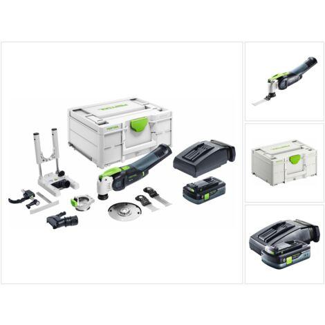 Festool VECTURO OSC 18 HPC 4.0 EI-Set Oscillateur sans fil 18 V Starlock Max (576593) + 1x Batterie 4.0 Ah + Chargeur + Set d'accessoires - 7 pièces + Coffret Systainer