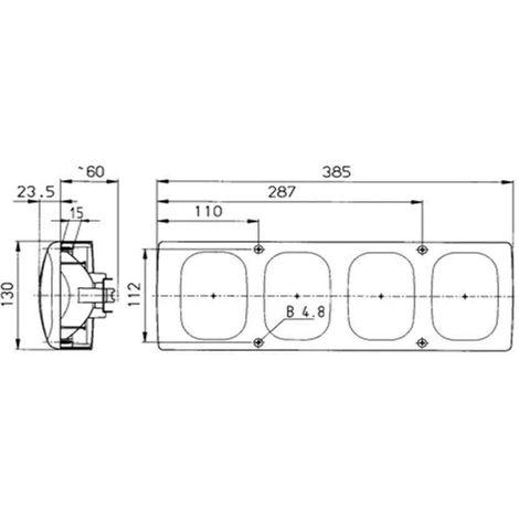 Feu arri/ère 4 fonctions 98x104mm PM