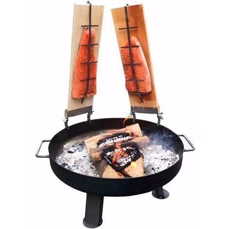 Feuerschale 55 cm 2x Flammlachsbretter Gartenkamin Feuerstelle 5 Stk. Buche