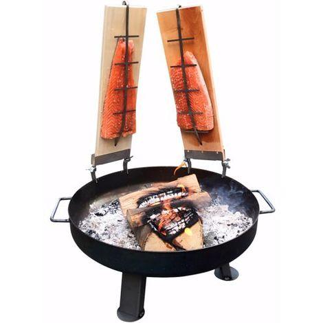 Feuerschale 80cm 2x Flammlachsbretter Gartenkamin Feuerstelle 5 Stk. Buche