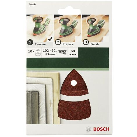 Feuille abrasive pour ponceuse Multi avec bande auto-agrippante, perforé Bosch Accessories 2609256A63 Grain 80 (L x l)