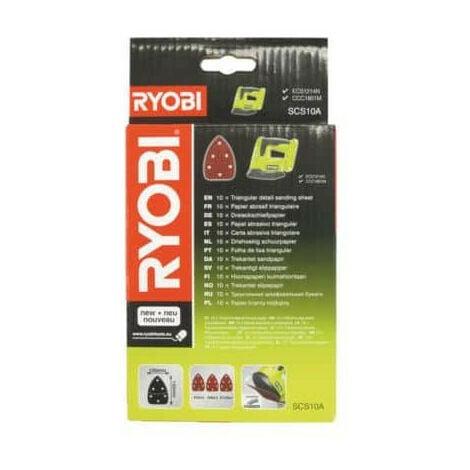 Feuille abrasive triangulaire Ryobi 100x140mm Grain 60, 80 et 120 SCS10A x 10