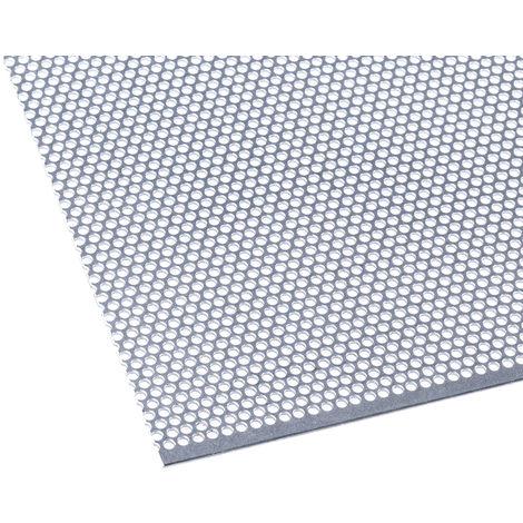 Feuille d'acier perforée, Magnétique, Dia. 2mm, 1m x 500mm x 0.7mm