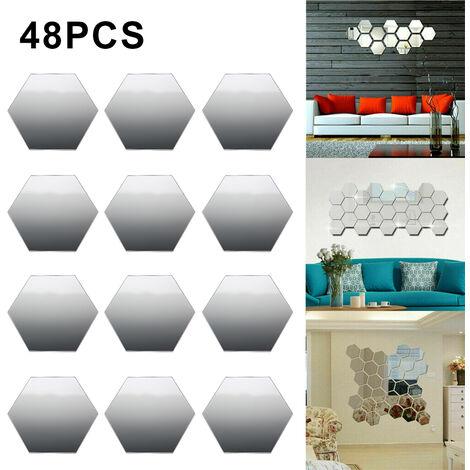 Feuille de miroir décorative hexagonale amovible, autocollants muraux en acrylique, 48 pièces, pour la maison, le salon et la chambre à coucher