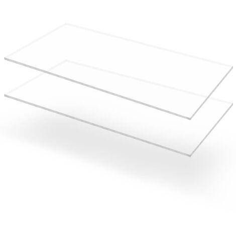 Feuille de verre acrylique transparent 2 pcs 60 x 120 cm 10 mm