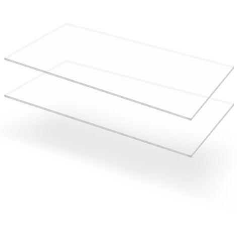 Feuille de verre acrylique transparent 2 pcs 60 x 120 cm 6 mm