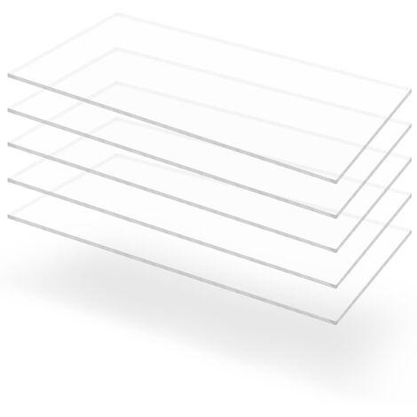 Feuille de verre acrylique transparent 5 pcs 60 x 120 cm 5 mm