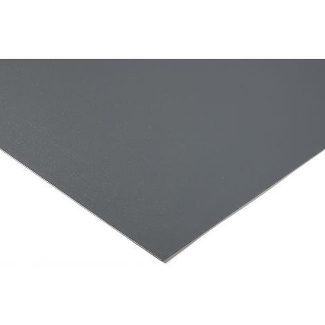 Feuille en plastique PVC Gris, 1m x 500mm x 9mm