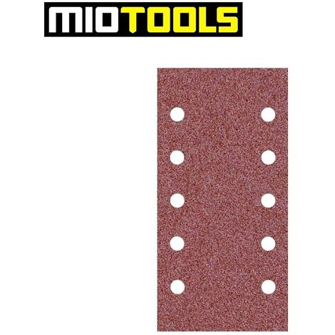 MioTools Fox Feuilles abrasives auto-agrippantes Lot de 50 Grain 40 Ponceuses vibrantes 10 trous p 230 x 115 mm