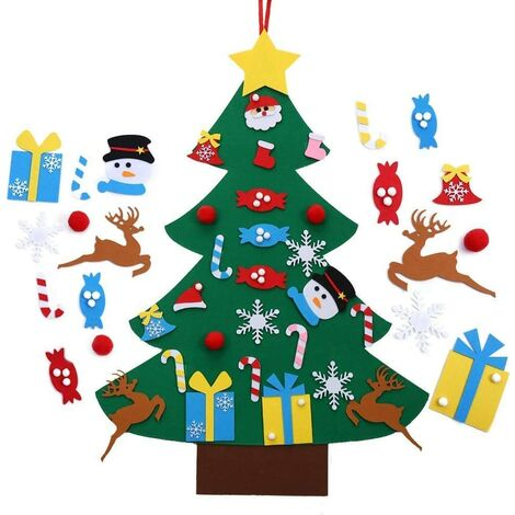 """main image of """"Feutre Arbre de Noël, Décoration Murale en Sapin De Noël 100cm, DIY Feutre Arbre De Noël avec 24 Ornements détachables Cadeaux de Noël pour Les Enfants Noël Décoration (Vert)"""""""