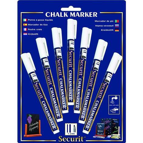 Feutre-craie 1-2 mm blanc (lot de 7) - Blanc - 1-2 mm