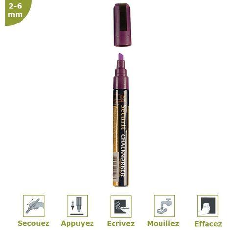 Feutre-craie 2-6 mm à encre liquide effaçable pour vitrine ardoise hôtel restaurant (à l'unité) - Violet - 14,5 - Violet
