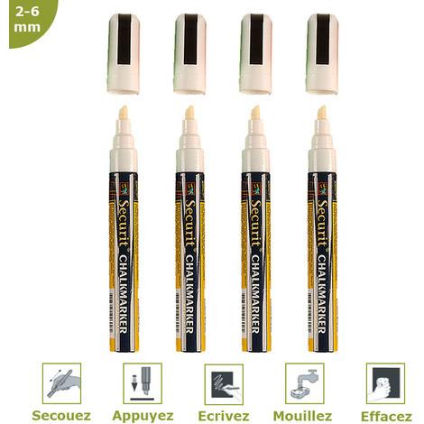 Feutre-craie blanc 2-6 mm par 4 - Blanc - 1,7