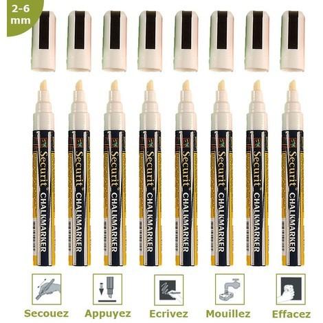 Feutre-craie blanc 2-6 mm par 8 - Blanc - 1,7