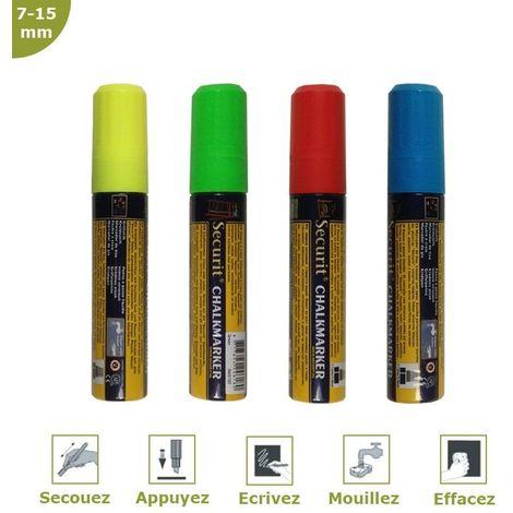 Feutre-craie couleur 7-15 mm par 4 - Jaune, bleu, vert et rouge
