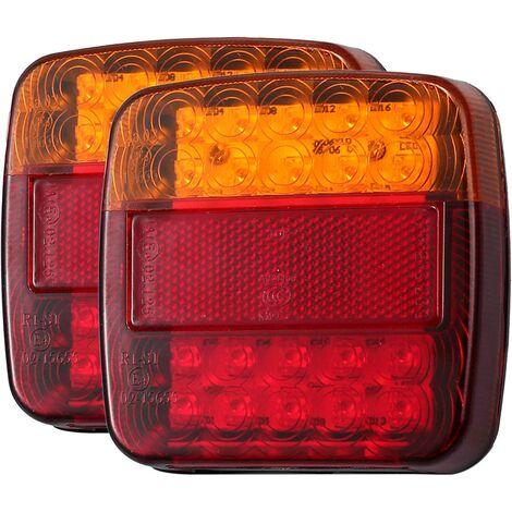 Feux Arrière de Camion 2PCS 12V LED Feux de Frein Arrière 5 Fonction Feux de Direction Clignotants Feux de Plaque d'Immatriculation Compatibles avec Remorques Camions Fourgonnettes Caravane