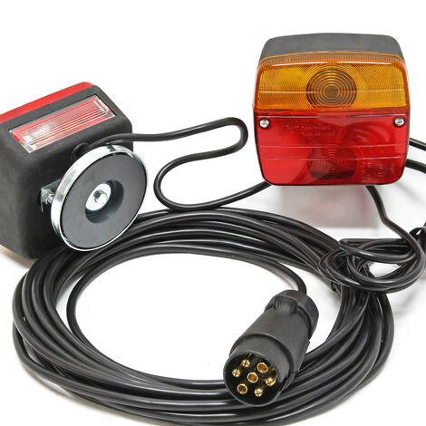 Feux arrière pour remorque 7 pôles avec 7,5m de câble et 2 unités d'éclairage