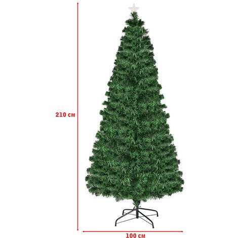 Fiber Optic Artificial Green Christmas Tree 8 Option Changing Lights LED 7FT