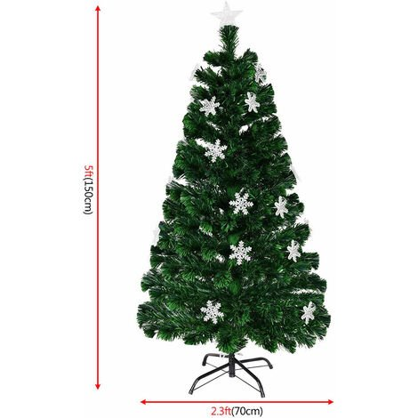 Fiber Optic Christmas Tree Artificial Xmas Tree W/Top Star&Snowflake