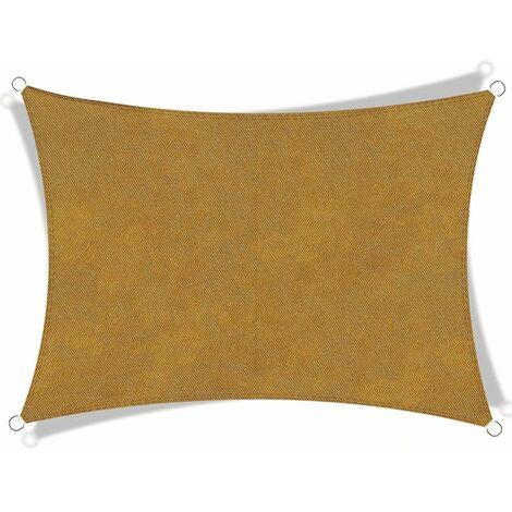 Fibre de polyester toile Oxford toile imperméable et protection UV voile d'ombrage rectangulaire jaune sable 2x5m