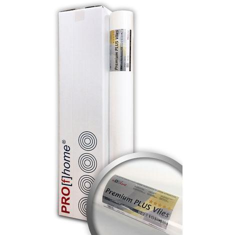 Fibre non-tissé de renforcement murale 160 g Profhome PremiumVlies PLUS 399-165 intissé lisse Papier peint intissé blanc 4 rouleaux 100 m2