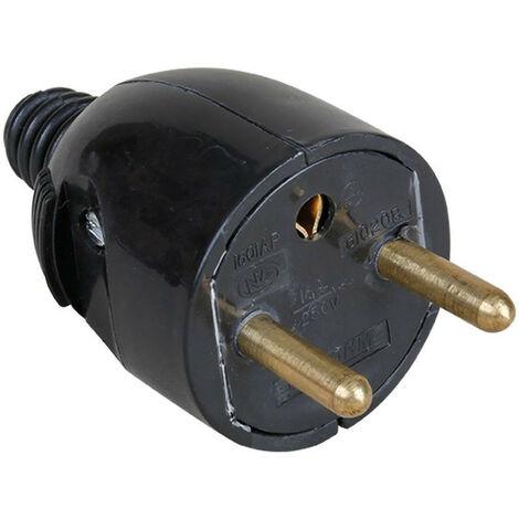 Fiche 16A male 2P+T noire (61022)