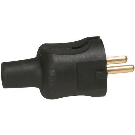 Fiche 2P - 16 A - caout - câble 2x1,5 mm² - noir