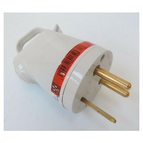 Fiche 2P+T 32A pour circuit de puissance mâle avec anneau 2 broches gris LEGRAND 096938