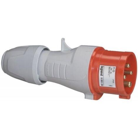 Fiche droite P17 IP44 32A 380/415V 3P+T plastique