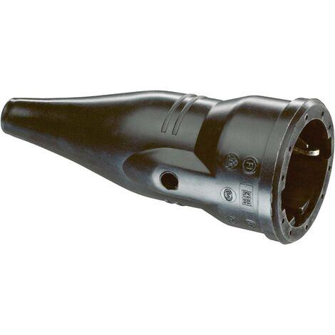 Fiche électrique femelle avec terre ABL Sursum 1479090 caoutchouc 230 V noir IP20