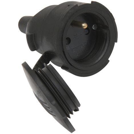 Fiche femelle caoutchouc douille D.4,8mm avec bague de verouillage noir - Debflex