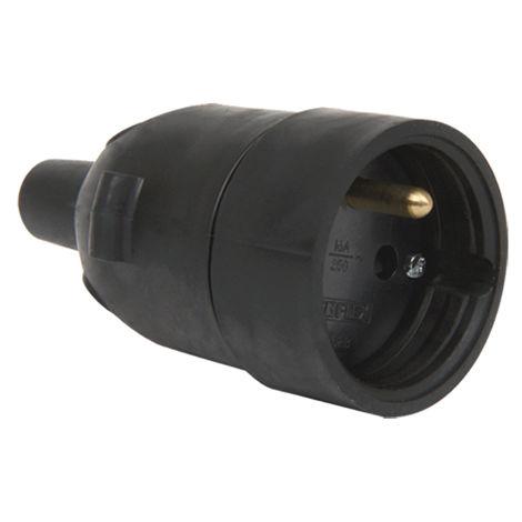 Fiche femelle caoutchouc douille D4.8mm avec eclipse noir - Debflex