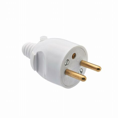 """main image of """"Fiche mâle 2P+T 16 ampères sortie câble droite ouverture à coiffe DEBFLEX Blanc - 713220"""""""